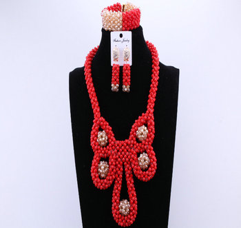 Red And Gold Nigerian Wedding African Beads Jewelry Sets Owl Christmas Costume Jewelry Set For Women Crystals Beads For Bride