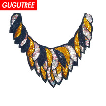 GUGUTREE embroidery Sequins big collar patches flower badges applique for clothing ZM-5