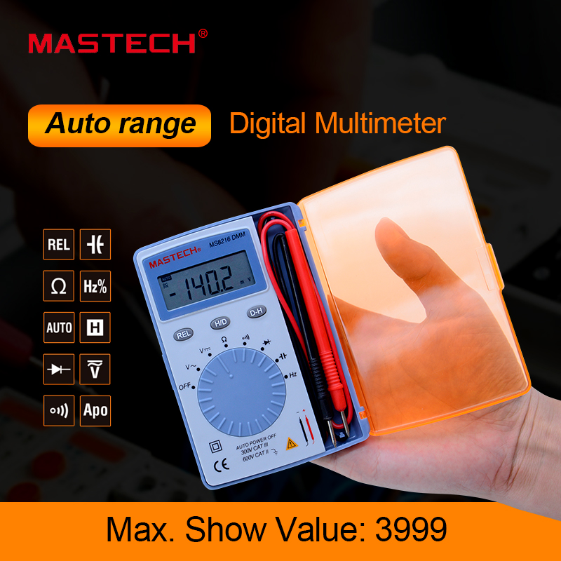 MASTECH MS8216 pocket Digital Multimeter data hold 4000 Counts Autoranging LCD AC/DC Voltage DMM Tester Detector with Diode