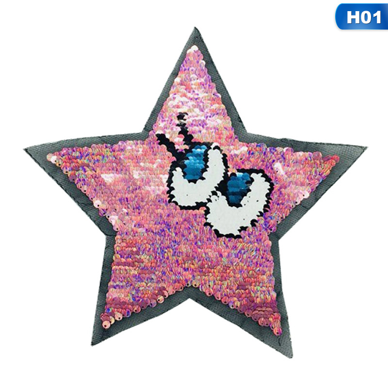 stars eyes patches reversible change color sequins sew on patches for clothes  B