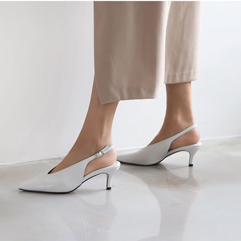 ZHENZHOU 5CM Women's Pumps Sweet Elegant Pointed Deep V Mouth Elastic Buckle Slingback Shoes Shallow Mouth Dating Office Wild