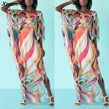 2018 Flower Long Summer Dress Sexy Round Neck Half Sleeve Loose Print Beach Maxi Women Dresses Boho Style Oversized Vestidos oversized abstract print maxi dress