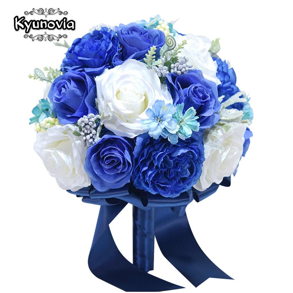 Kyunovia Best Bride Bouquet Artificial Flowers Royal Blue Silk Rose Set Wrist Flower Boutonniere Wedding Bridal Bouquet D42
