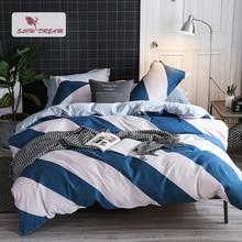 SlowDream Geometry Art Bedding Set Blue White Striped Bedspread Duvet Cover Flat Sheet Pillowcase Linens Home Bed