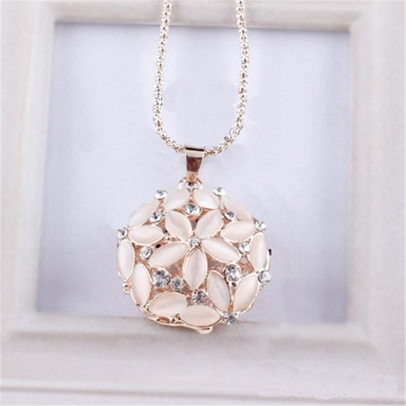 Hollow Opal Crystal Flower Long Pendant Necklace Cute Gold Ss