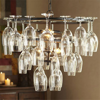 Modern 28pcs Glass Wine Cup Chandeliers New Fixture Droplight for Bar Coffee Living Room Bedroom Home Lighting Chandelier PA0045