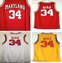 ФОТО dwayne the most talented bballer len bias #34 maryland basketball jersey stitched white yellow and red