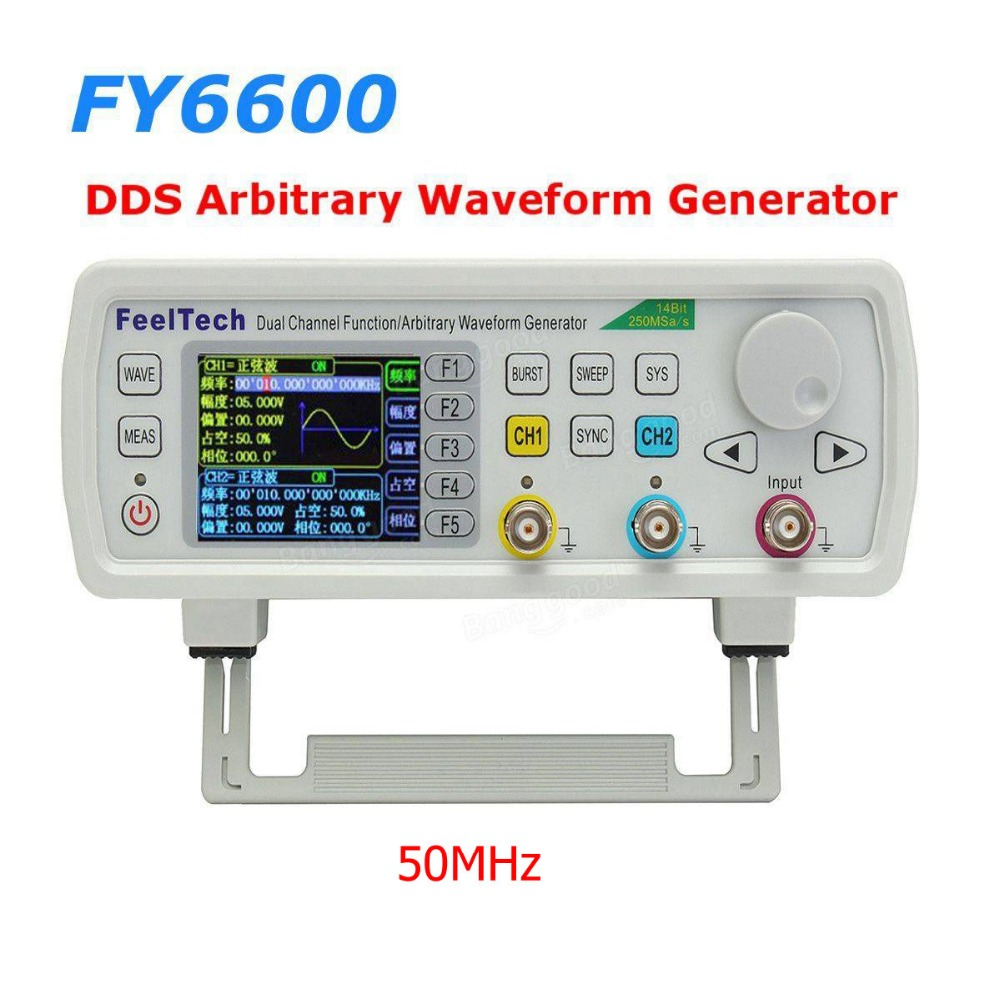 FT FY6600 50MHz Dual Channel DDS Function Arbitrary Waveform Generator/pulse source/Frequency Meter 14Bit 250MSa/s jds6600 dual channel function arbitrary waveform signal generator 8m 25m 40m pulse signal source frequency meter