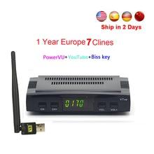 DVB-S2 freesat V7 рецепторов спутниковый декодер + USB WI-FI с CCcam Клайн 1 год HD 1080 P Biss ключ powervu спутниковый ресивер