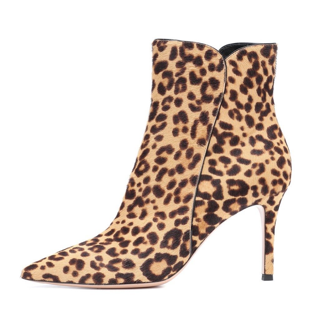 sexy Leopard print women boots zipper stiletto heels high heels ankle boots plus size 45 women fashion boots pointed toe pumps summer autumn fashion ankle wrap back zipper pointed toe stiletto heel pumps concise strappy crisscross sueded high heels