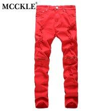 MCCKLE New Fashion Men Ripped Designer Jeans Pants Slim Fit Knee Zipper Jeans Men Club Wear Bright Color Denim Jogger Q1159