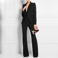 Fashion Winter Formal Work Wear Women Elegant Pant Suit Slim Female Business Suits Blazer With Trousers Office Ladies Suits