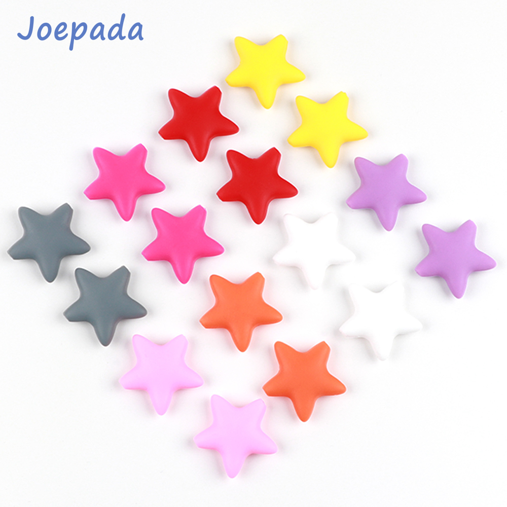 50Pcs/lot Silicone Beads Joepada Star Baby Teether BPA Free Silicone Teething Beads Baby Chew Teething Necklace Baby Teether Toy