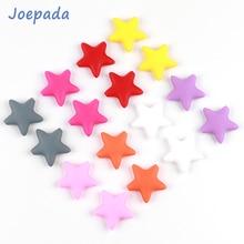 купить 50Pcs/lot Silicone Beads Joepada Star Baby Teether BPA Free Silicone Teething Beads Baby Chew Teething Necklace Baby Teether Toy дешево