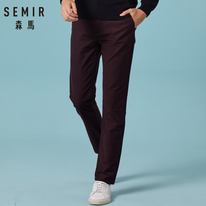 SEMIR Men Cotton Pants In Slim Fit Classic Straight Pants With Slant Pocket Zip Fly With Button For Winter