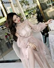 Women Long Sleeve Lace Dress 2018 Style Floral Embroidery Prom Party Gowns Midi 2-piece Sexy Hollow Out Wear Summer Beach Xnxee