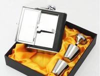 6 Oz Stainless Steel Hip Flask Bottles Cigarette Case Portable Household Travel Thick Wine Kettle Four