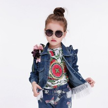 Girl jeans KID denim with lace children Puff Sleeve coat