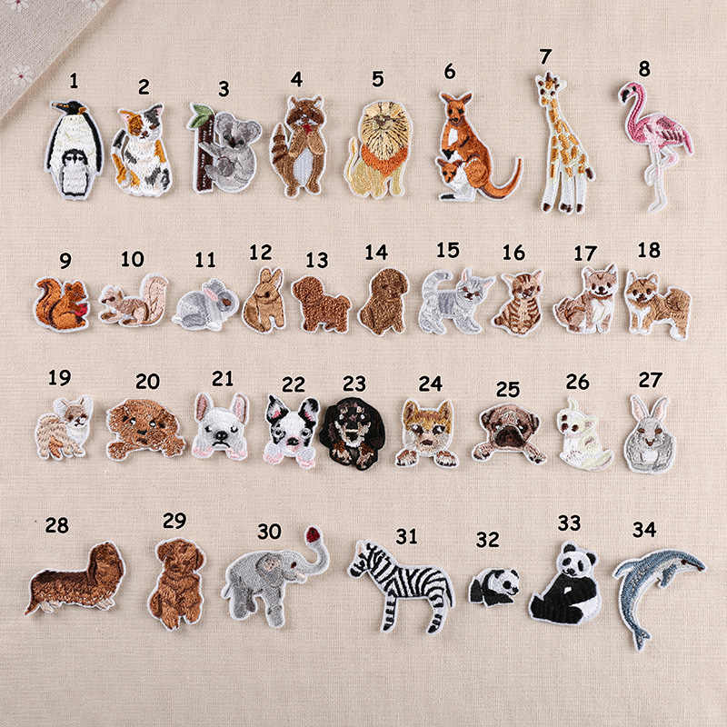 Cartoon Animal Embroidery Patches for Clothes Iron on Clothing Flamingo Dog Rabbit Dolphin Appliques Stripe Sticker Craft Patch
