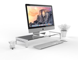 Image 2 - Desktop Monitor Notebook Laptop Stand Space Bar Non slip Desk Riser with 4ports USB Hub Data Transmission and Fast Charger 501L