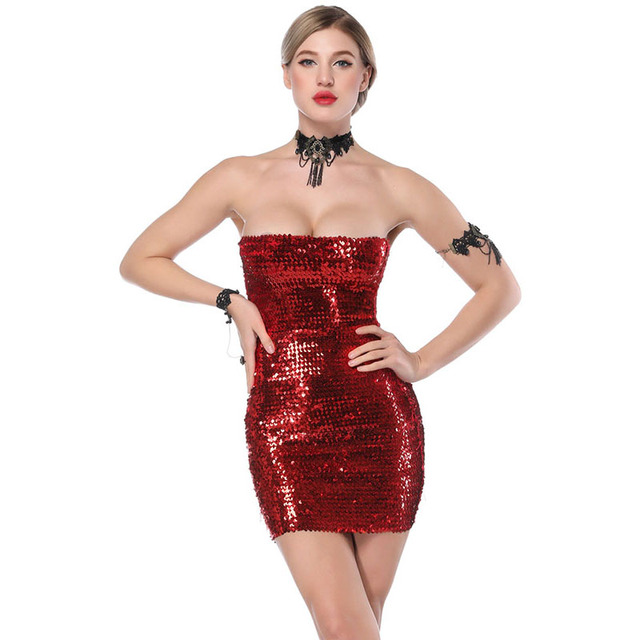 7eaa2d97834 Women Night Club Party Elegant Dress Short Christmas Sexy Sequin · Strapless  Christmas Dresses