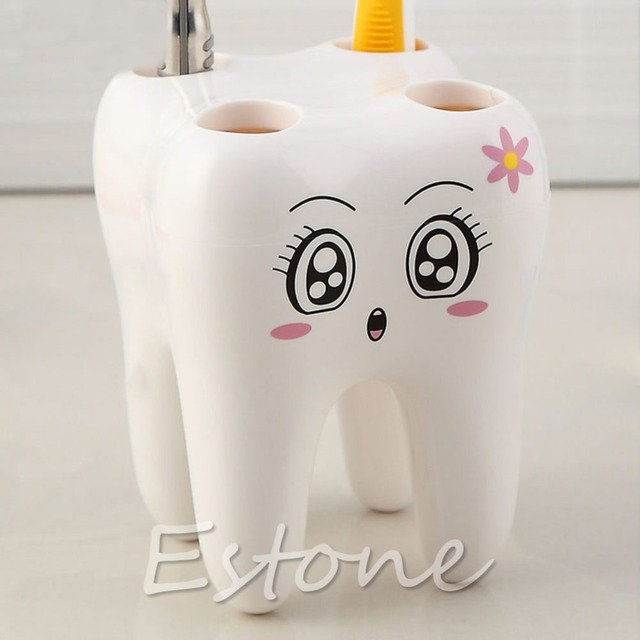 2016 Newest Lovely Cute 4 Holes Cartoon Tooth Style Design Kid Bathroom Toothbrush Holder