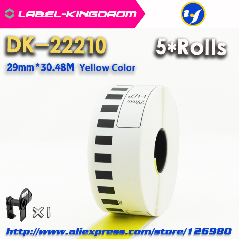 5 Rolls Brother Compatible Yellow Color DK-22210 Label 29mm*30.48M Continuous Compatible For Brother Label Printer QL-570/700