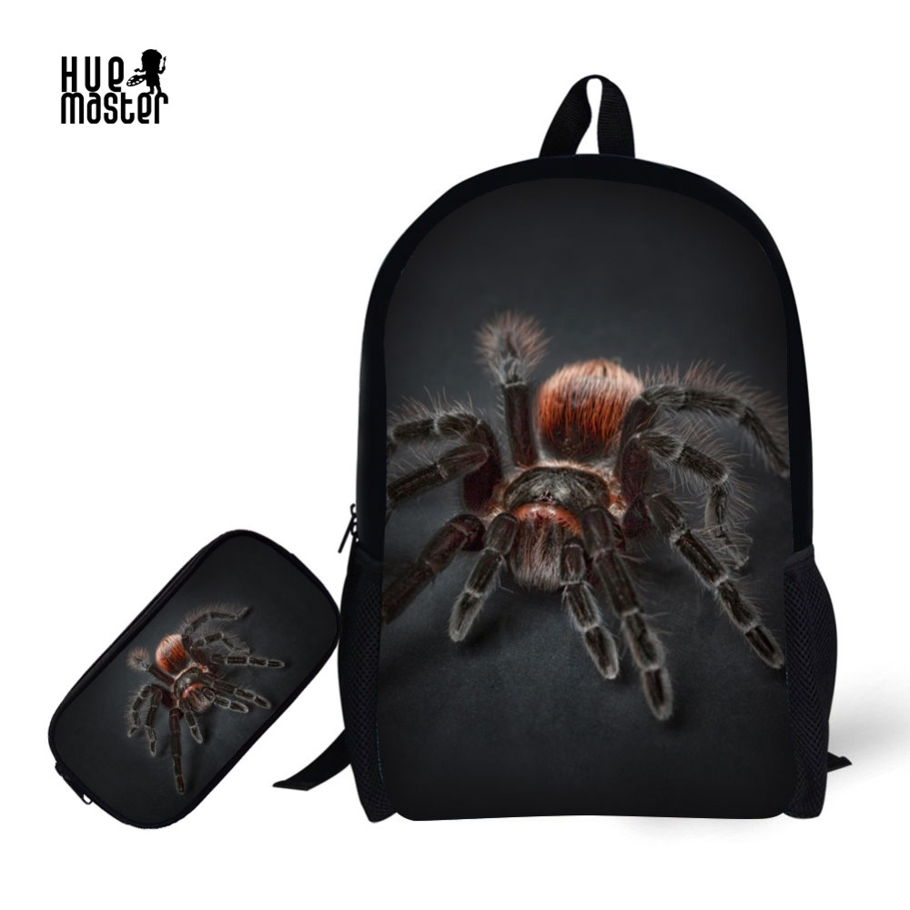 Insects Spider Design Bag Kids School Bag Light Weight Book Bag 2 Set Backpack And Pencil Case For School
