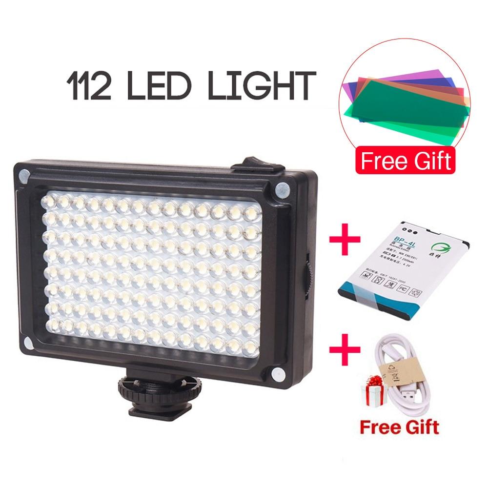 Ulanzi nuevo 112 LED regulable Luz de vídeo lámpara recargable Panal luz + BP-4L batería para cámara DSLR Videolight de grabación