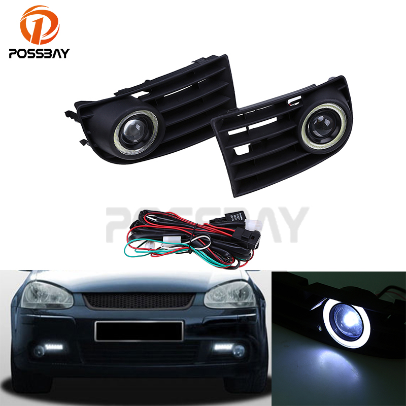 POSSBAY 1Pair Car Fog Lights Auto Halo Angel Eyes Ring Grille Foglight for VW Golf Rabbit MK5 2003-2009 LED Daylights white fog light grille foglamps grill cover for vw golf rabbit mk5 2003 2009 with hardness switch h3 bulbs p98