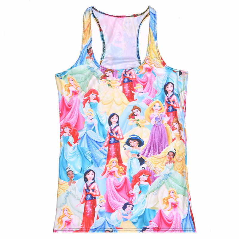 Selfless Tops Summer Women's Blouses Strapless Sleeveless Digital Print Casual Snow Fairy Princess Tank Tops Ladies' Vest Elegant And Sturdy Package