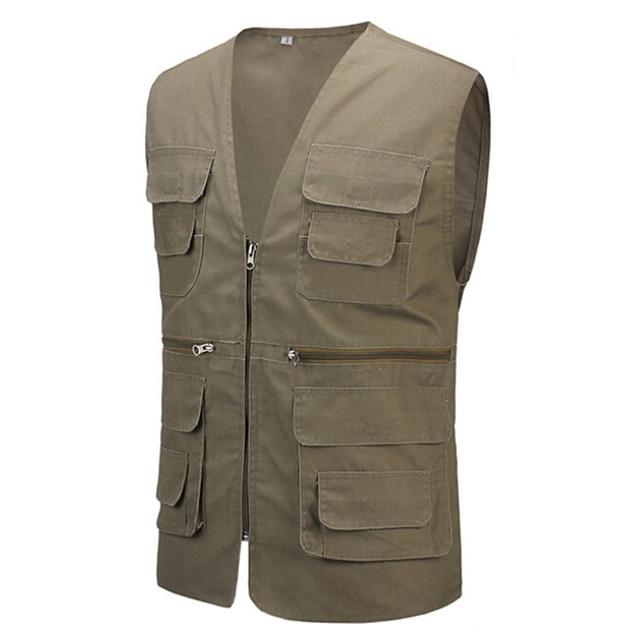2017 Summer Men's Regular Vest With Many Pockets Casual Photographer Vest Men Plus Large Size 4XL With Five Colors Travel Vests