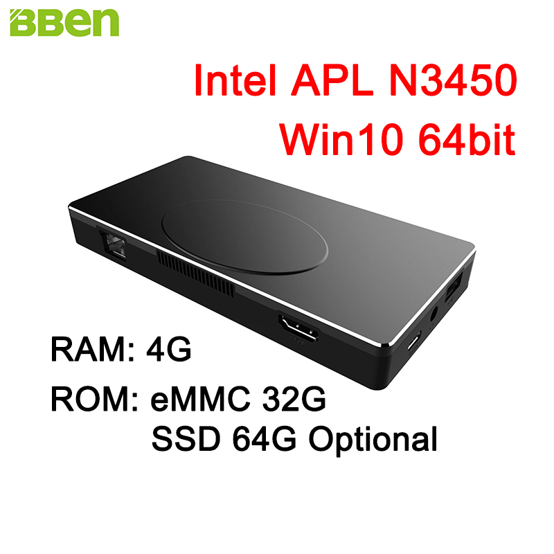 BBEN MN17A Mini PC Windows 10 Intel APL N3450 Gen9 LP 12EUs GPU RAM 4GB Nand Flash 32GB HDMI WiFi BT V4.2 Mini Computer PC Stick