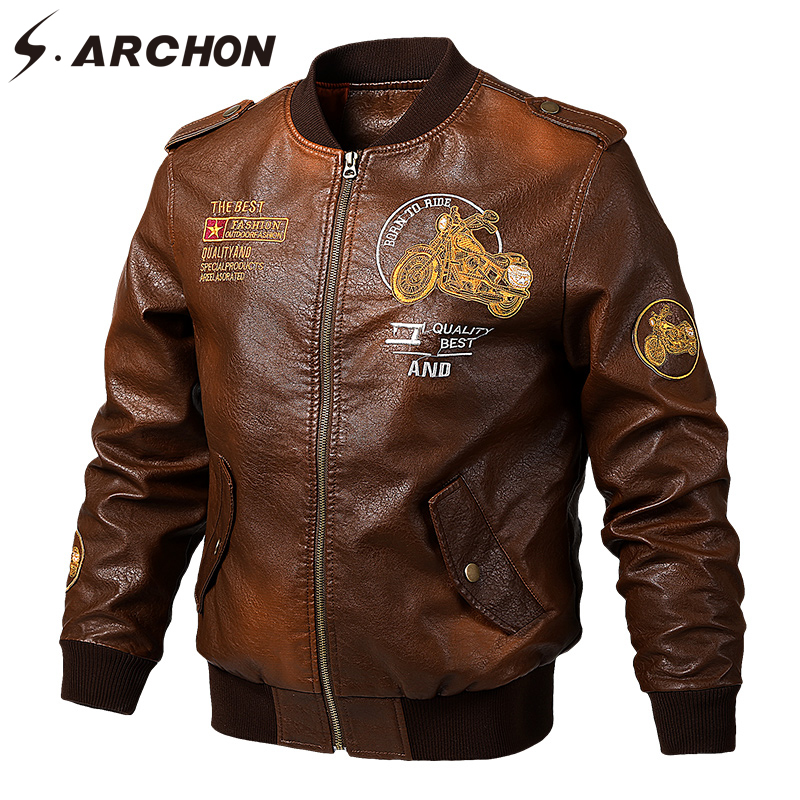 S. ARCHON veste en cuir cuir synthétique polyuréthane pour hommes printemps Vintage motard moto vestes Bomber pilote militaire veste Baseball manteau mâle