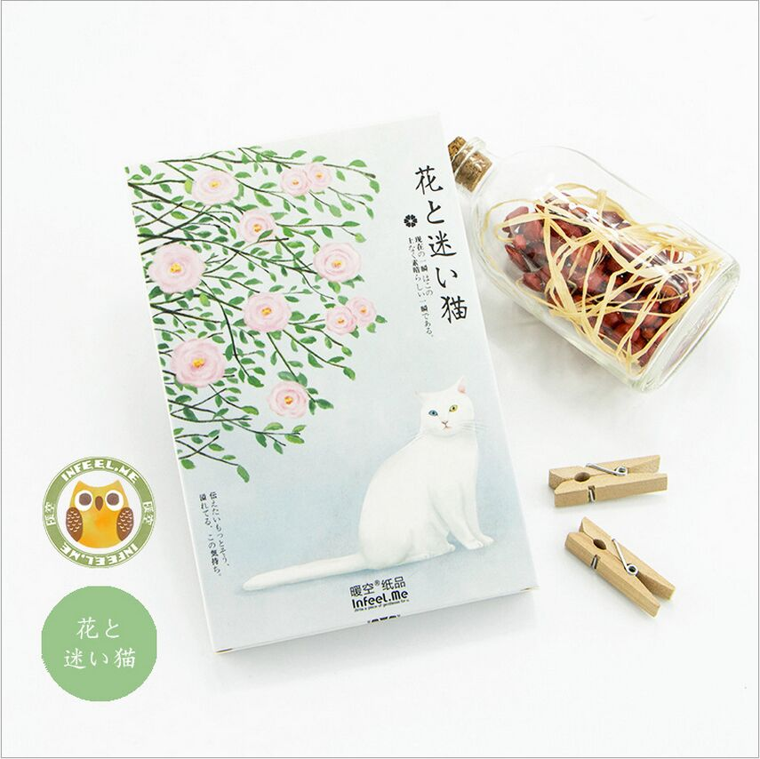 30Pcs/Pack Adorable Cats And Flower Plants Watercolor LOMO Card Postcard DIY Envelope Gift Card Mini Message Card Paper Bookmark lumiparty 100pcs double sided blank kraft paper business cards word card message card diy gift card 30