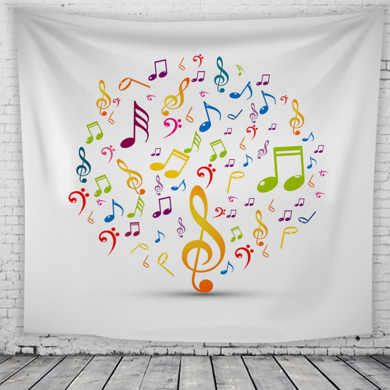 Beach Blanket Tempest Musical: Colourful Music Note Tapestry Wall Hanging Bedroom Living