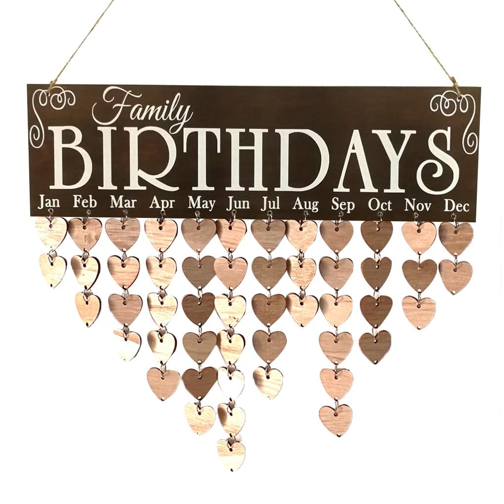 Family Birthday Words Hanging DIY Wooden Calendar Kalendar Reminder Board Plaque Home Decor Pendant Colorful цена 2017