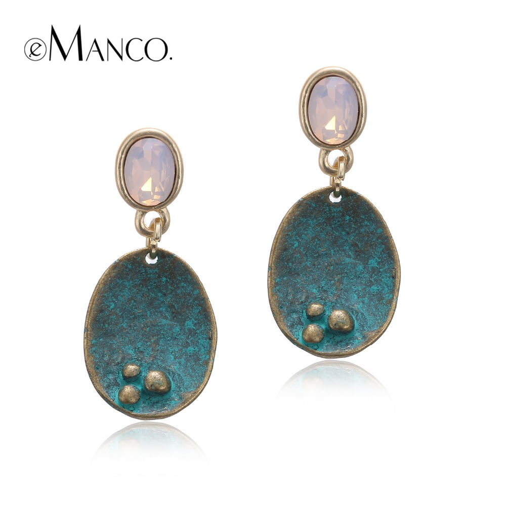 eManco Vintage Drop Dangle Opal Earrings for Women Crystal  Antique Geometric Pendant Ear Brand New Summer Style