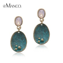eManco Vintage Drop Dangle Opal Earrings for Women Crystal Antique Geometric Pendant Ear Brand New Summer Style