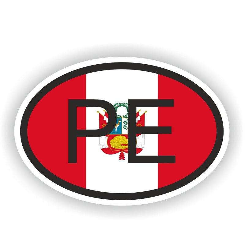 10.6 Centimetri * 16.5 Centimetri Perù Bandiera Finestre Autoadesivo Dell'automobile Di Codice Del Paese In Pvc Pe Decalcomania 6-0394