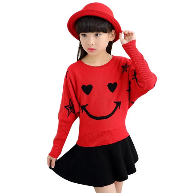 Chicas de moda Suéteres Con Bawting Manga Trui Meisjes Grueso Pullover Estilo Dulce Jersey De Punto Para Niños en Otoño E Invierno