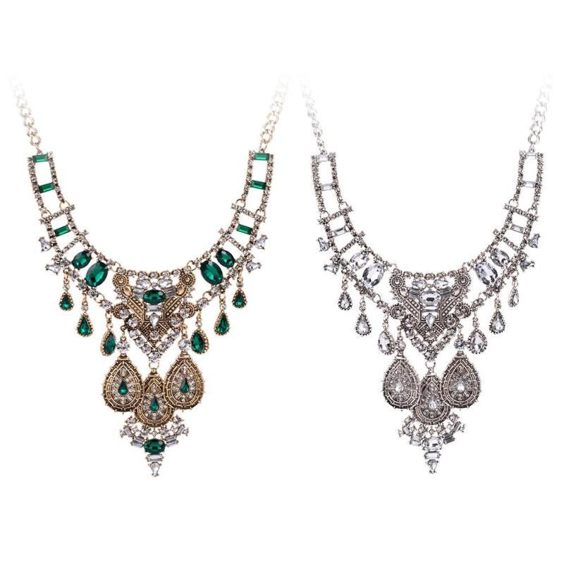 Vintage Women Geometric Gems Pendant Charm Chain Statement Necklace Jewelry statement women