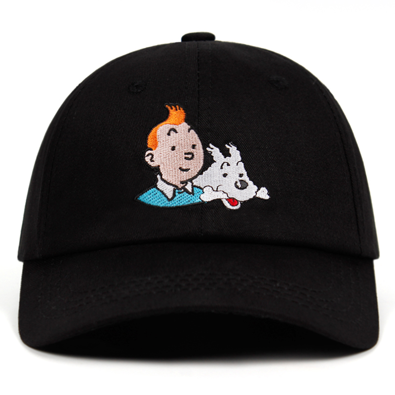100% Cotton TinTin Dad hat Embroidered   Baseball     Cap   Custom Strap Back Unisex Adjustable Aventures de Tintin Snapback Hats