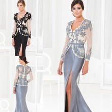 2015 Sexy Black/Gray Appliqued Bodice Full Sleeves Spilt Side Mother of the Bride Dresses Suits