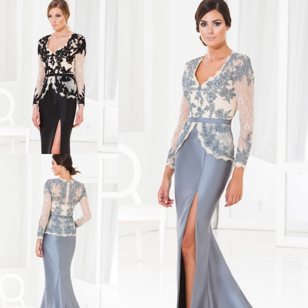 2016 Sexy Black/Gray Appliqued Bodice Full Sleeves Spilt Side Mother of the Bride Dresses Mother Suits