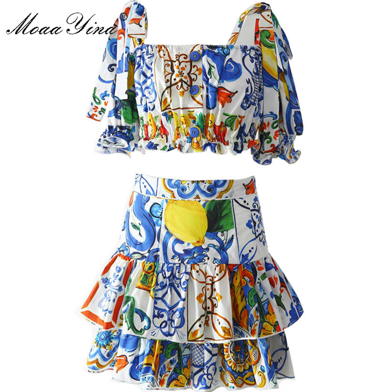 MoaaYina 2018 Fashion Designer Runway Suit Summer Women Short sleeve Spaghetti Strap Bowknot Sexy Holiday Tops