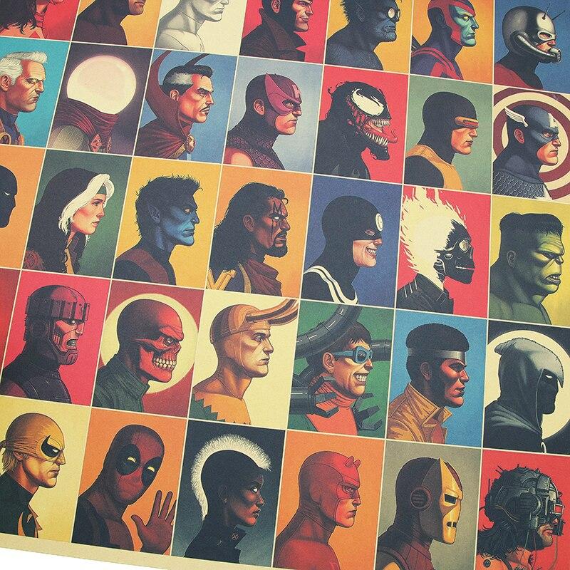DLKKLB Вселенная Marvel Винтажный супер герой Атлас Мстители фильм плакат крафт бумага плакат тема домашний декор живопись наклейки на стену