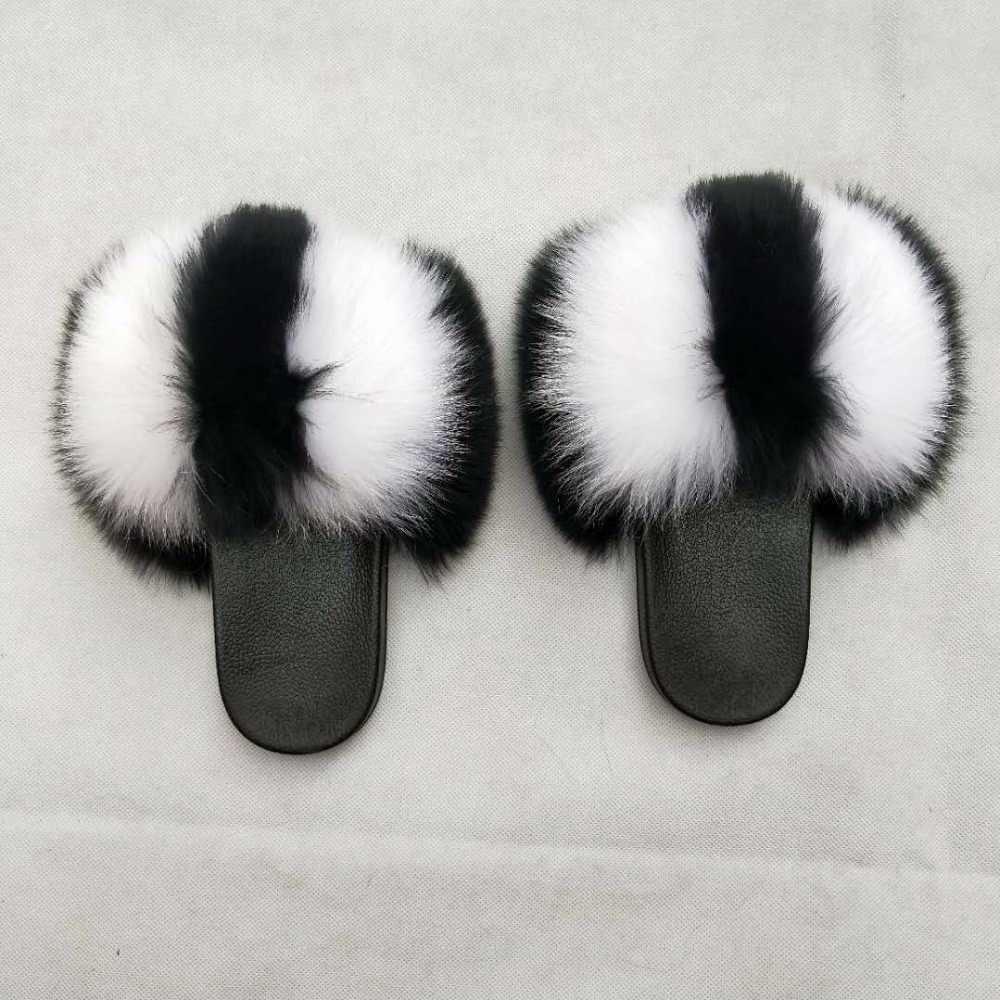 12df32ac6ab2 Wholesale Custom Design Women soft Fur Slides With Real fluffy Fox Fur  Slippers for Summer Fur