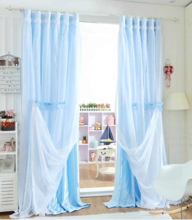 New Korean Princess Fresh Bedroom Window Double Layer Solid Color Decoration Erfly Knot Lace