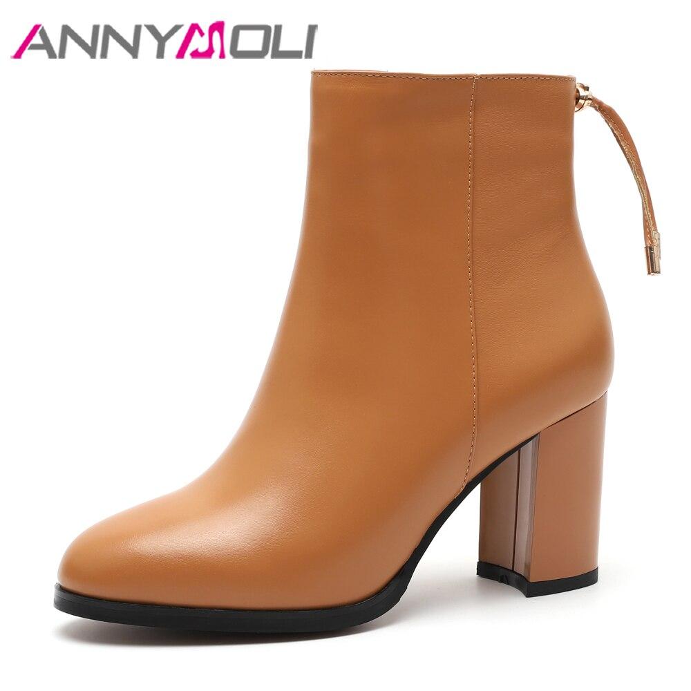 ANNYMOLI naturel en cuir véritable bottes bottines femmes hiver bloc talon arc en cuir véritable bottes courtes Beige blanc talons hauts